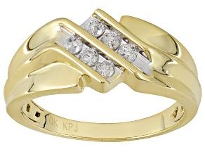 White Diamond 10k Yellow Gold Gents Ring .30ctw