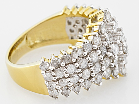 White Diamond 10k Yellow Gold Ring 2.50ctw