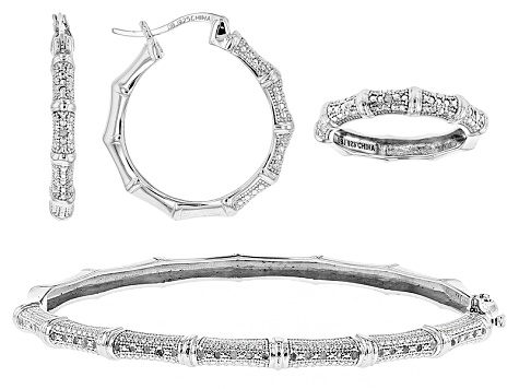 White Diamond Rhodium Over Sterling Silver Jewelry Set .25ctw
