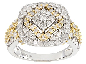 White Diamond 10k White And Yellow Gold Ring 1.50ctw
