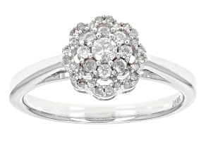 White Diamond 10k White Gold Ring .33ctw