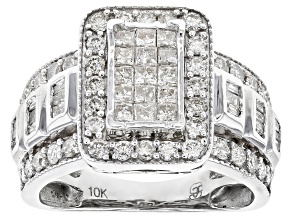 White Diamond 10k White Gold Ring 1.40ctw