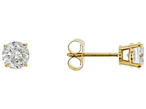 White Diamond 14k Yellow Gold Earrings 1.00ctw