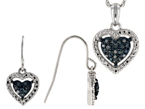 Blue Diamond Rhodium Over Sterling Silver Jewelry Set .20ctw