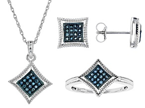 Blue Diamond Rhodium Over Sterling Silver Jewelry Set .40ctw