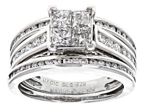 White Diamond 14k White Gold Bridal Set 1.50ctw
