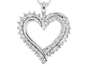 White Diamond 10k White Gold Pendant .50ctw