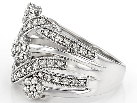 White Diamond Rhodium Over Stelring Silver Ring .50ctw