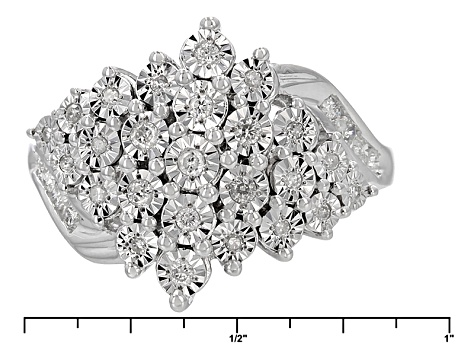 White Diamond Rhodium Over Sterling Silver Ring .33ctw