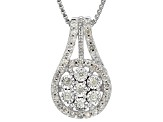 White Diamond Rhodium Over Sterling Silver Pendant .33ctw