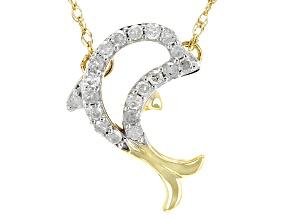 White Diamond 10k Yellow Gold Necklace .10ctw