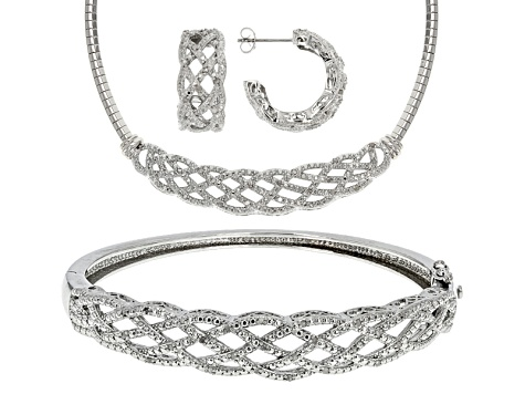 White Diamond Rhodium Over Brass Jewelry Set .76ctw