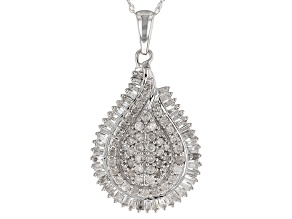 White Diamond 10k White Gold Pendant .85ctw
