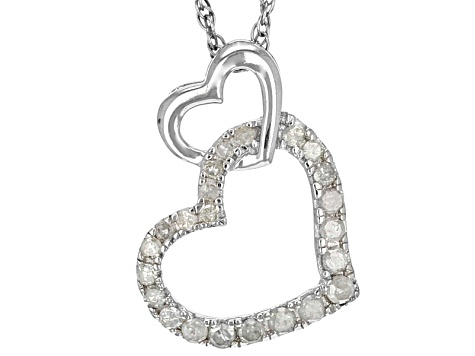 White Diamond Rhodium Over Sterling Silver Pendant .20ctw