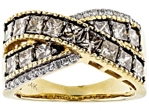 Champagne And White Diamond 14k Yellow Gold Ring 2.00ctw