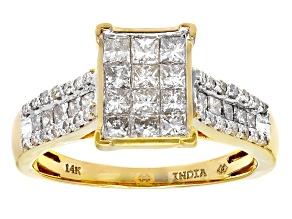 White Diamond 14k Yellow Gold 1.00ctw