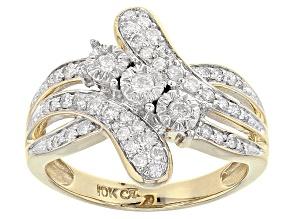 White Diamond 10k Yellow Gold Ring .50ctw