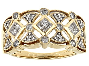 White Diamond 1ok Yellow Gold Ring .50ctw