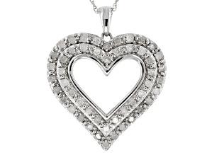 White Diamond Rhodium Over Sterling Silver Pendant 1.00ctw