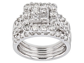 White Diamond 14k White Gold Ring With 2 Matching Bands 3.00ctw