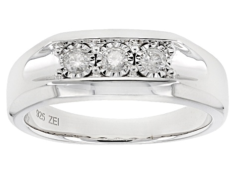 71caebbbd White Diamond Rhodium Over Sterling Silver Gents Ring .25ctw ...