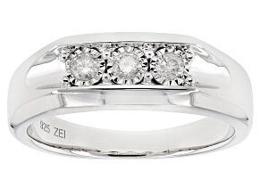 White Diamond Rhodium Over Sterling Silver Gents Ring .25ctw