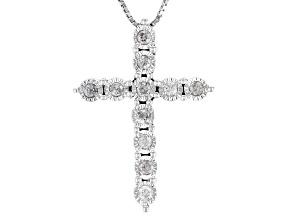 White Diamond Rhodium Over Sterling Silver Pendant .25ctw