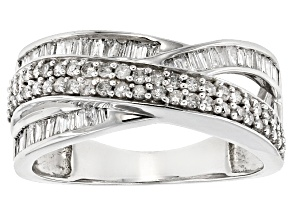 White Diamond 10k White Gold Ring .77ctw