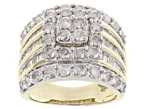 White Diamond 10k Yellwo Gold Ring 3.25ctw