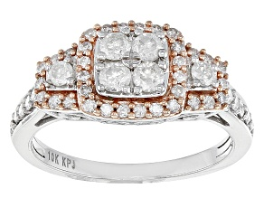White Diamond 10k White Gold Ring With 14k Rose Gold Accents .75ctw