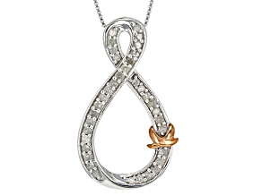 White Diamond Rhodium And 14k Rose Gold Over Sterling Silver Pendant .50ctw