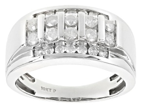 White Diamond 10k White Gold Gents Ring 1.10ctw