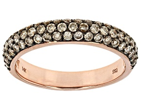 Champagne Diamond 14k Rose Gold Ring 1.02ctw