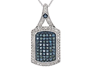 Blue And White Diamond Rhodium Over Sterling Silver Pendant 1.07ctw