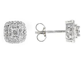 Diamond Rhodium Over Brass Earrings .02ctw