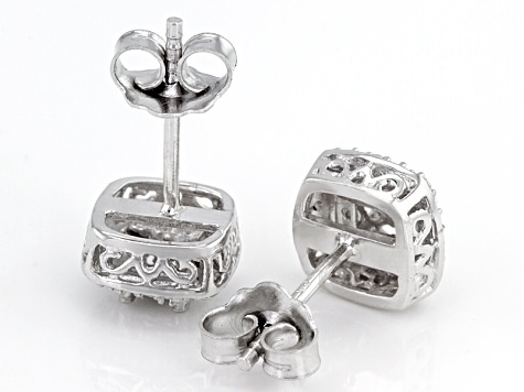 Diamond Rhodium Over Brass Earrings .02ctw