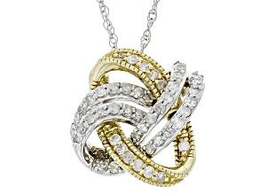 White Diamond 10k White And Yellow Gold Pendant .25ctw