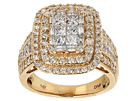White Diamond 14k Yellow Gold Ring 2.50ctw