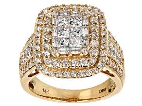 White Diamond 14k Yellow Gold Ring 2.50ctw
