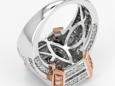 White Diamond 14k White And Rose Gold Ring 3.00ctw