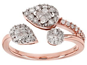 White Diamond 10k Rose Gold Ring .50ctw