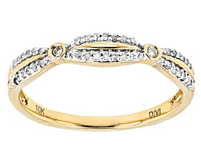White Diamond 10k Yellow Gold Ring .13ctw