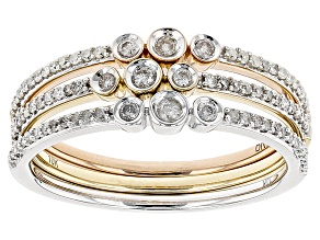 White Diamond 10k White, Rose And Yellow Gold 3 Band Ring Set .33ctw