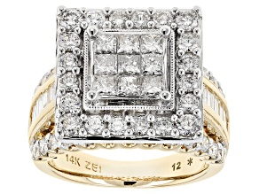 White Diamond 14k Yellow Gold Ring 3.00ctw