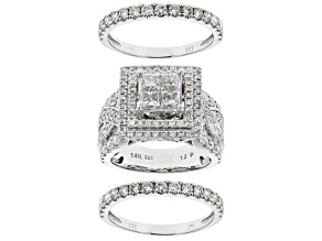 White Diamond 14k White Gold Ring With Two Matching Bands 3.00ctw