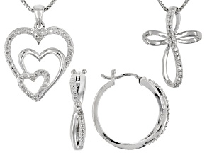 White Diamond Rhodium Over Brass Jewelry Set Diamond Accent