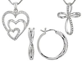 White Diamond Rhodium Over Brass Jewelry Set Diamond Accent