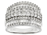 White Diamond Rhodium Over Sterling Silver Ring 2.00ctw