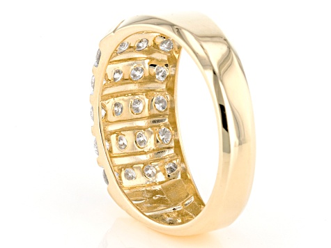 White Diamond 14k Yellow Gold Gents Ring 1.00ctw