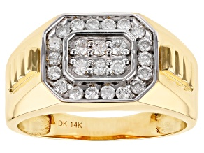 White Diamond 14k Yellow Gold Gents Ring .50ctw
